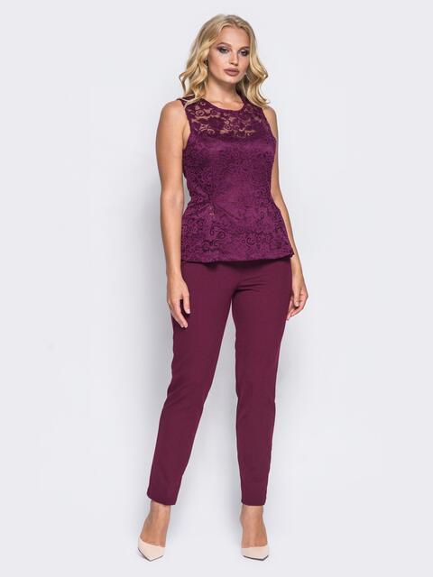 Бордовый комплект с топом на подкладке - 14457, фото 2 – интернет-магазин Dressa