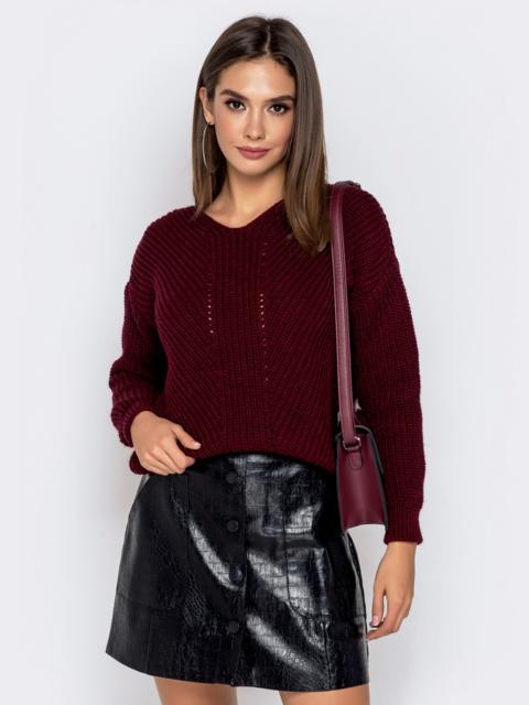 Бордовый свитер крупной вязки - 41147, фото 1 – интернет-магазин Dressa