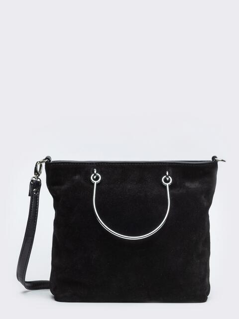Чёрная сумка-тоут с металлическими ручками и ремешком - 20533, фото 1 – интернет-магазин Dressa