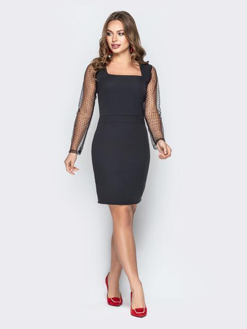 Чёрное платье-футляр с квадратным вырезом - 20204, фото 1 – интернет-магазин Dressa