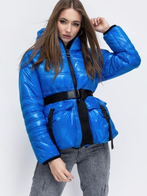 Демисезонная куртка с капюшоном синяя 45254, фото 1