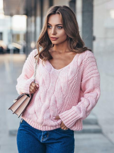 Джемпер розового цвета с объемными рукавами - 17037, фото 1 – интернет-магазин Dressa