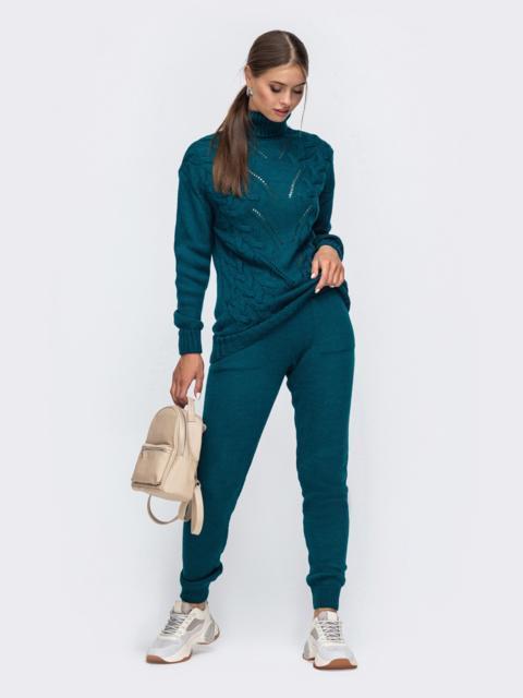 Синий вязаный комплект с брюками на кулиске 50448, фото 1
