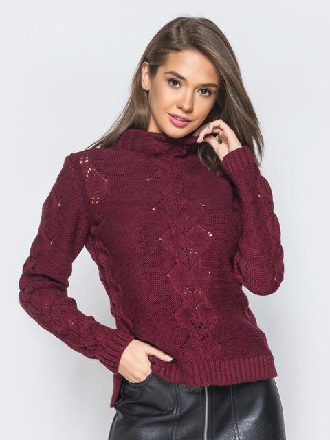 Свитер бордового цвета с воротником и перфорацией - 17099, фото 1 – интернет-магазин Dressa