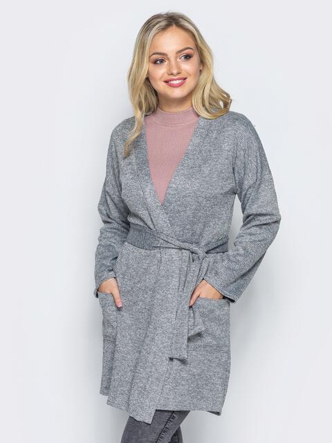 Кардиган с нитью люрекса и накладными карманами серый - 16332, фото 1 – интернет-магазин Dressa