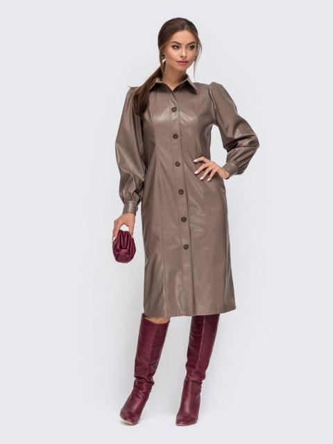 Коричневое платье-рубашка из искусственной кожи 50337, фото 1