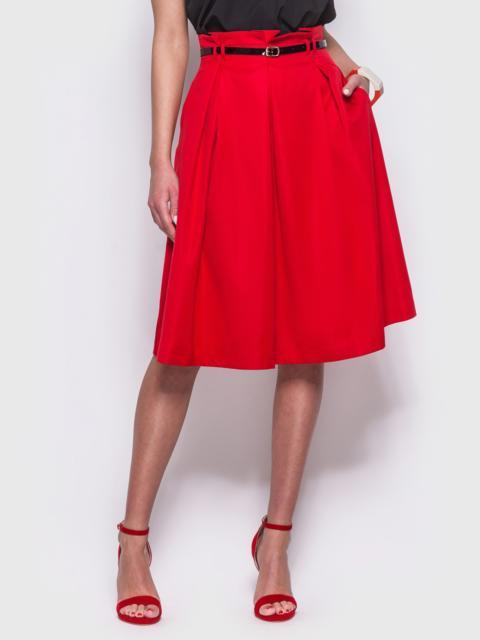 Красная расклешенная юбка с карманами по бокам - 12173, фото 1 – интернет-магазин Dressa