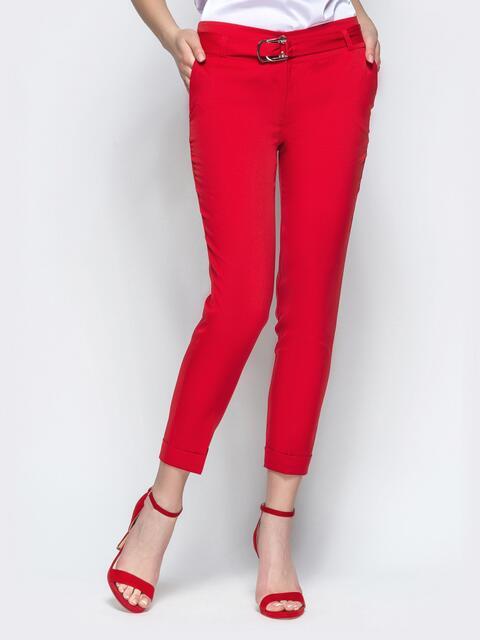Красные укороченные брюки с поясом 21861, фото 1