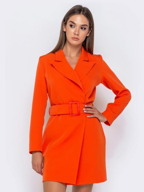 Оранжевое платье-пиджак с широким поясом - 41004, фото 1 – интернет-магазин Dressa