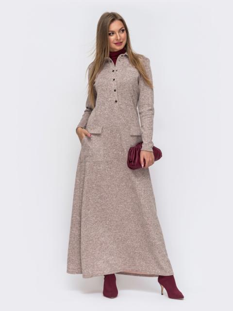 Платье из ангоры с накладными карманами цвета пудры 51063, фото 1