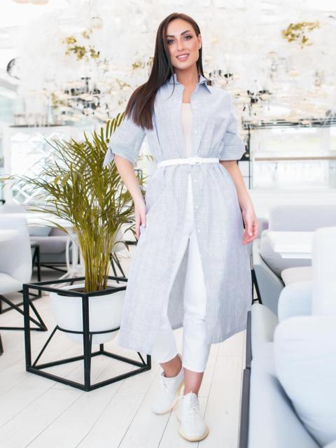 Платье-рубашка большого размра в узкую полоску голубое - 48333, фото 1 – интернет-магазин Dressa