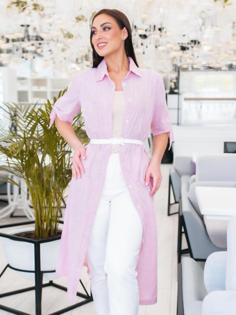 Платье-рубашка большого размра в узкую полоску розовое - 48334, фото 1 – интернет-магазин Dressa