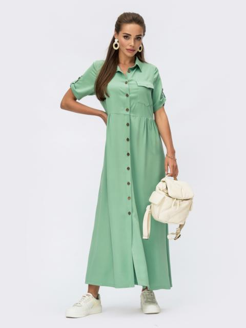 Платье-рубашка длины макси из штапеля мятное 54350, фото 1