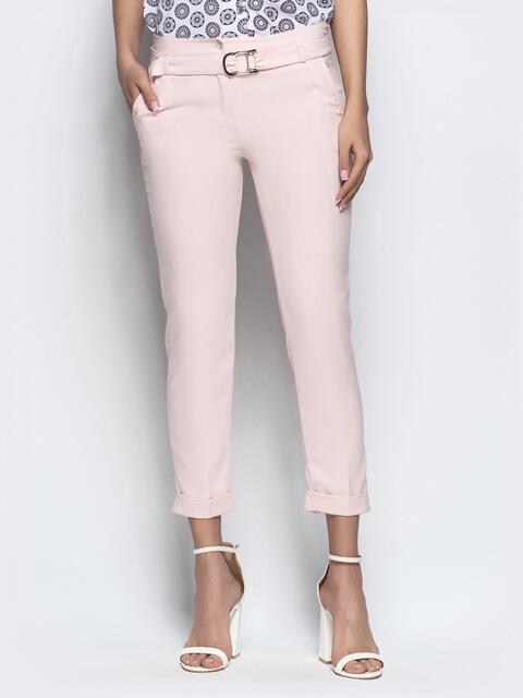 Пудровые укороченные брюки с поясом - 21863, фото 1 – интернет-магазин Dressa