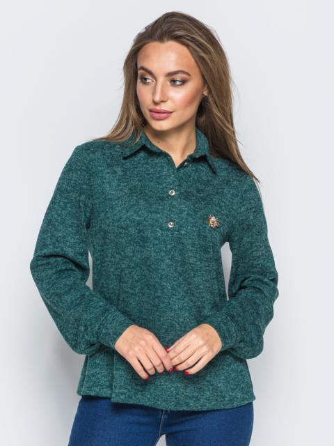 Рубашка зелёного цвета из ангоры с термонаклейкой на полочке - 17759, фото 1 – интернет-магазин Dressa
