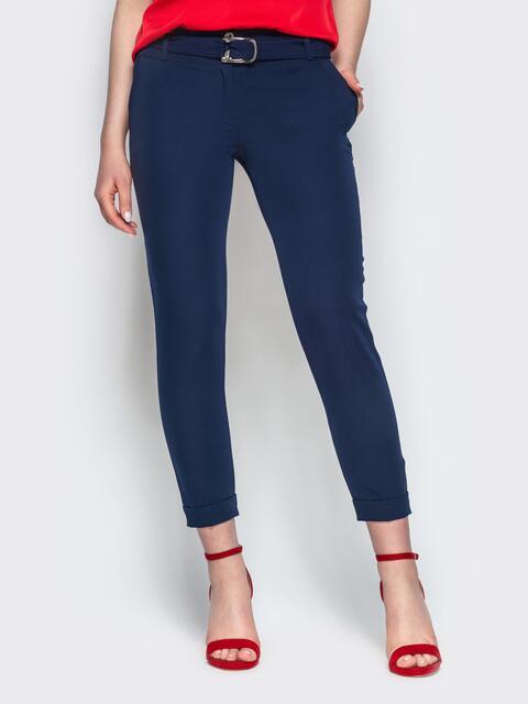 Тёмно-синие укороченные брюки с поясом - 21860, фото 1 – интернет-магазин Dressa