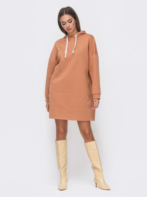 Теплое платье на флисе с капюшоном бежевое 51135, фото 1