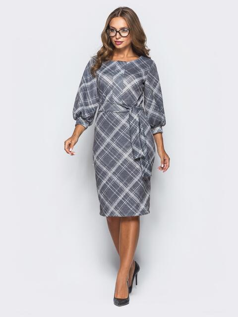 """Трикотажное платье серого цвета с рукавом """"фонарь"""" - 16399, фото 1 – интернет-магазин Dressa"""