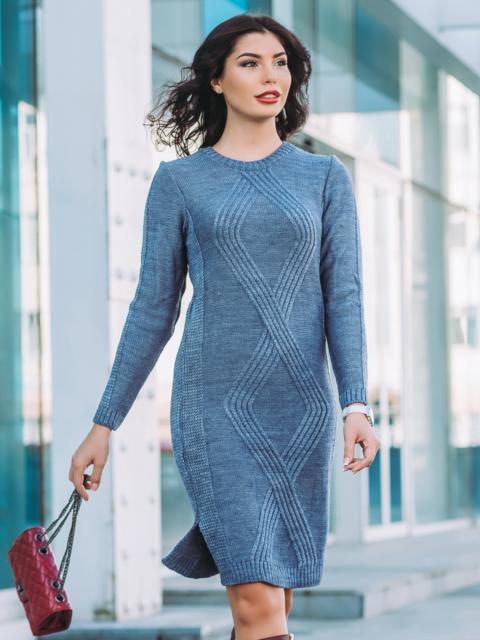 Вязаное платье голубого цвета со съемной брошью 24842, фото 1