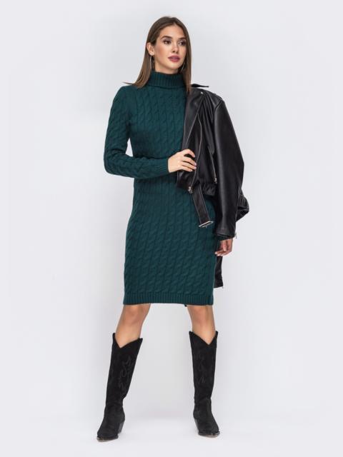 Вязаное платье-миди с косами тёмно-зелёное - 42154, фото 1 – интернет-магазин Dressa
