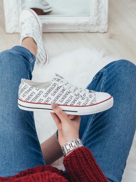 Белые кеды из текстиля с принтом 51408, фото 1