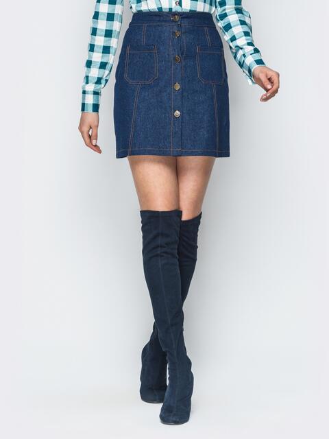 Джинсовая юбка с застежкой на пуговицы - 18694, фото 1 – интернет-магазин Dressa