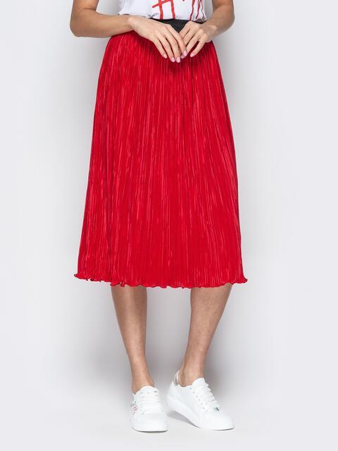 Плиссированая юбка-миди на резинке красная - 21047, фото 1 – интернет-магазин Dressa