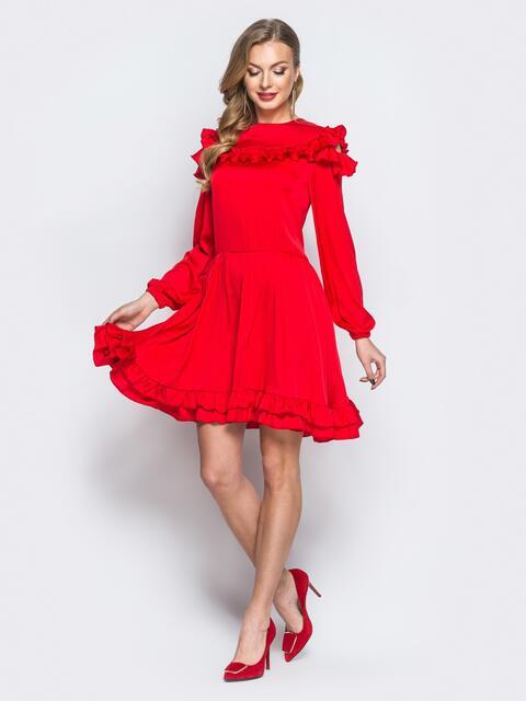 Шелковое платье красного цвета с расклешенной юбкой - 18138, фото 1 – интернет-магазин Dressa