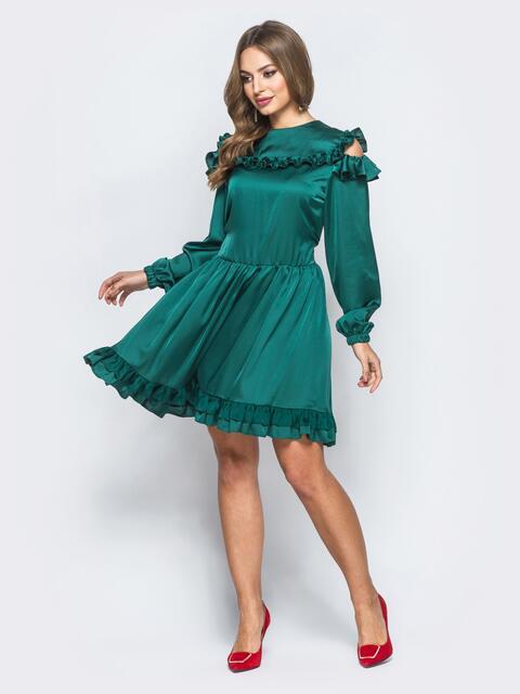 Шелковое платье зелёного цвета с расклешенной юбкой - 18139, фото 1 – интернет-магазин Dressa