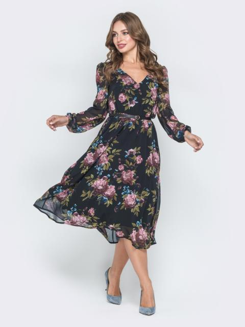 Шифоновое платье с растительным принтом чёрное - 40589, фото 1 – интернет-магазин Dressa