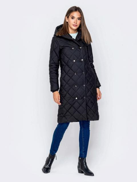 Стёганая куртка на кнопках с капюшоном чёрная - 40409, фото 1 – интернет-магазин Dressa