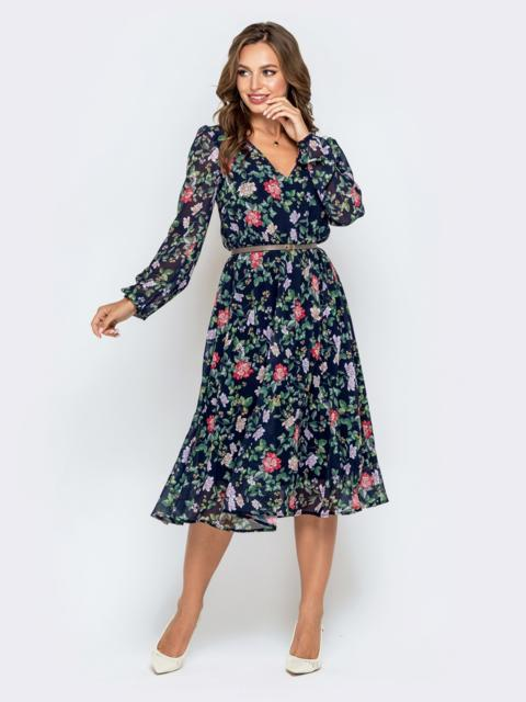 Тёмно-синее платье из шифона с растительным принтом - 40588, фото 1 – интернет-магазин Dressa
