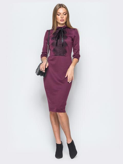 Трикотажное платье цвета марсала с кружевом на полочке - 17630, фото 1 – интернет-магазин Dressa