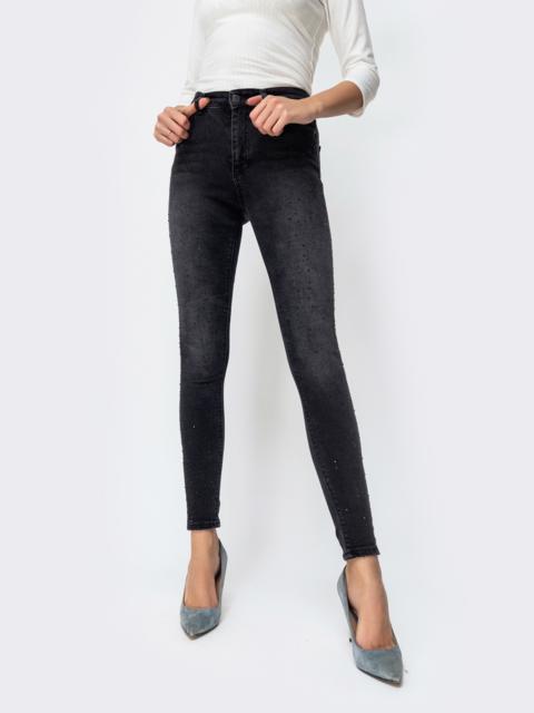 Зауженные джинсы со стразами серые - 44058, фото 1 – интернет-магазин Dressa