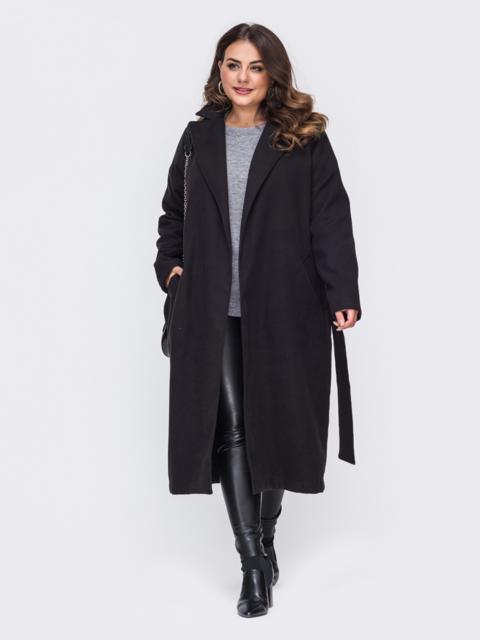 Чёрное пальто большого размера на запах 50879, фото 1