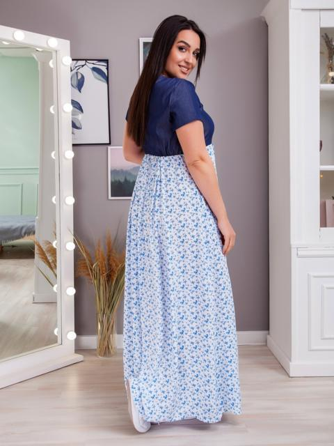 Длинное платье батал в полоску с завышенной линией талии голубое 48381, фото 1
