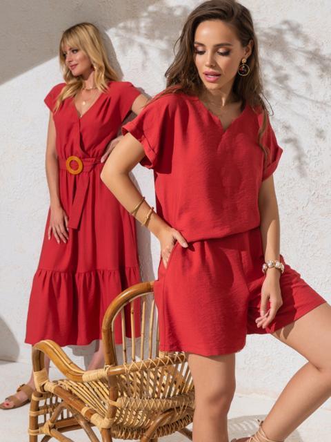 Комплект кораллового цвета из свободной блузки и шорт - 49138, фото 1 – интернет-магазин Dressa
