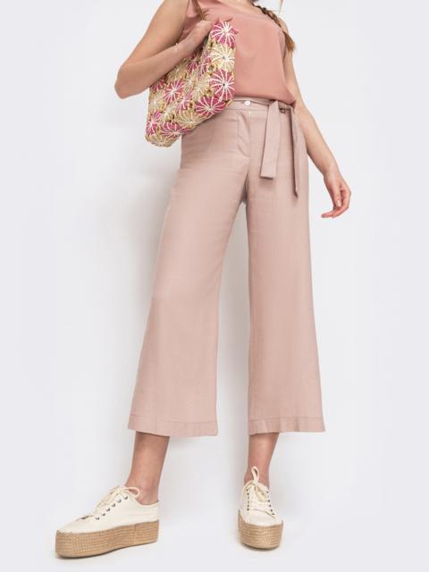 Льняные брюки-кюлоты на молнии цвета пудра - 46796, фото 1 – интернет-магазин Dressa