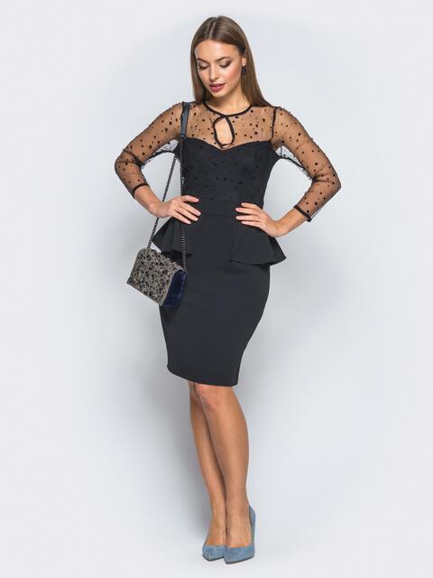 Платье-футляр с баской и фатиновыми рукавами черное - 18284, фото 1 – интернет-магазин Dressa