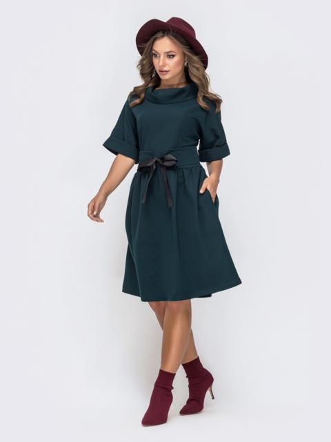 Платье из костюмной ткани с втачным поясом зеленое 41606, фото 2