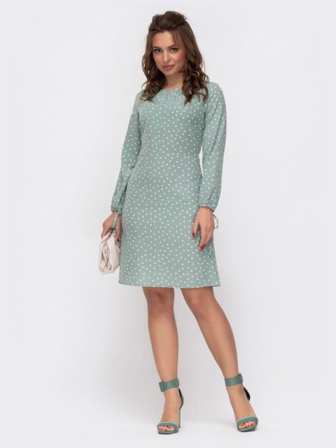Платье из софта зеленого цвета в горох 46940, фото 1