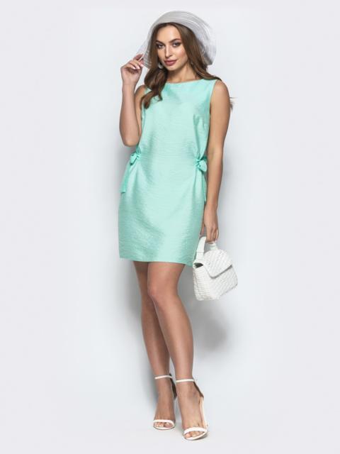 Платье прямого кроя с завязками по бокам мятное 21588, фото 1