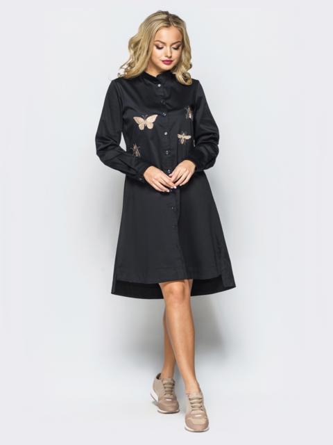 Платье-рубашка черного цвета А-силуэта с вышивкой на полочке - 17025, фото 1 – интернет-магазин Dressa
