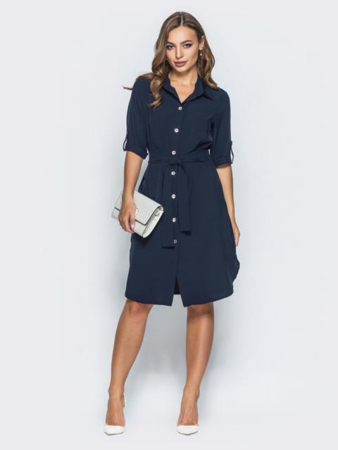 Платье-рубашка на пуговицах с поясом  - 14629, фото 1 – интернет-магазин Dressa