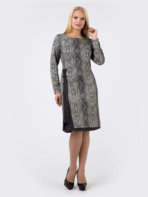 Платье с анималистичным принтом из ангоры с разрезом сбоку - 18461, фото 1 – интернет-магазин Dressa