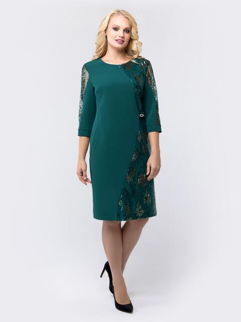 Платье зелёного цвета со вставками из пайеток - 18463, фото 1 – интернет-магазин Dressa