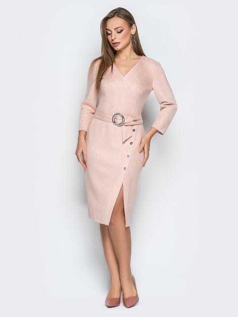 Розовое платье из замши в полоску с поясом - 19235, фото 1 – интернет-магазин Dressa