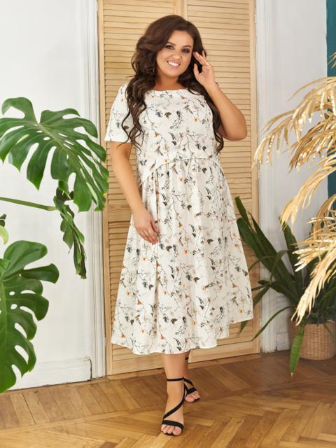 Свободное платье батал с цветочным принтом молочное 48366, фото 1