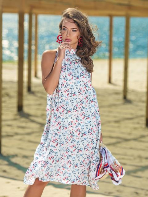 Белое платье-миди с принтом и американской проймой - 38679, фото 1 – интернет-магазин Dressa