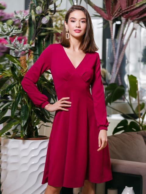 Бордовое расклешенное платье с драпировкой на кокетке - 20019, фото 1 – интернет-магазин Dressa
